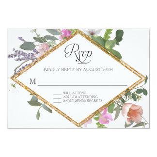 Cartão Do Wildflower cor-de-rosa do brilho do falso do