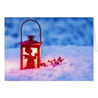 Cartão do Xmas da lanterna do anjo