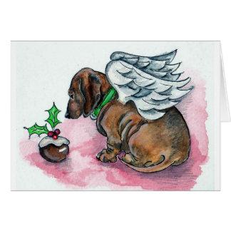 Cartão do xmas do anjo do Dachshund por Annabel