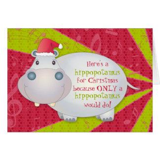 Cartão do Xmas do Natal do hipopótamo do