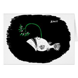 Cartão do Xmas do visco dos peixes de mar profundo