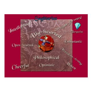 Cartão do zodíaco das características do Sagitário