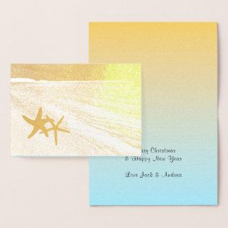Cartão dobrado costume da folha de ouro do Natal
