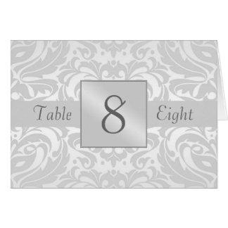 Cartão dobrado da mesa do damasco número de prata
