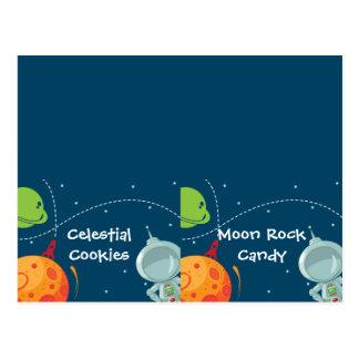Cartão dobrado etiqueta da comida de espaço