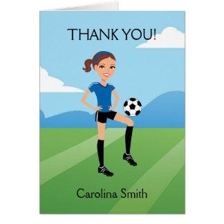 Cartão dobrado futebol dos desenhos animados da