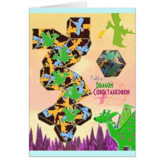 Cartão Dobre um artesanato do teste padrão do dragão de
