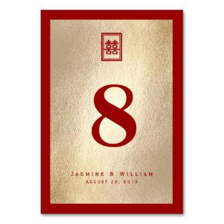 Cartão dobro chinês do número da mesa do casamento