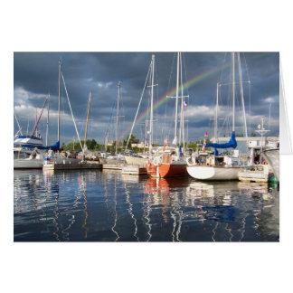 Cartão Doca do barco na fotografia do porto