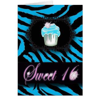 Cartão Doce 16 do impressão da zebra de turquesa