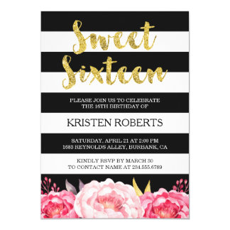 Cartão Doce 16 listras florais do branco do preto do ouro