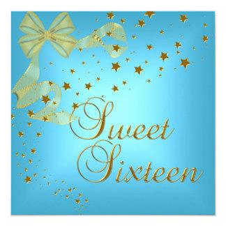 Cartão Doce dezesseis 16 estrelas do ouro da festa de