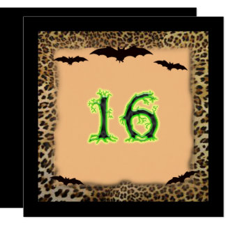 Cartão Doce dezesseis aniversário, o Dia das Bruxas,
