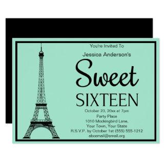 Cartão Doce dezesseis da torre Eiffel do preto do verde