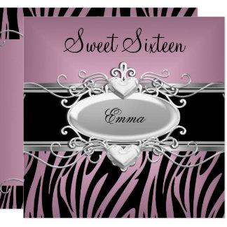 Cartão Doce dezesseis da zebra preto cor-de-rosa de prata