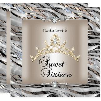 Cartão Doce dezesseis ouro do preto da prata da zebra de