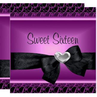 Cartão Doce dezesseis preto roxo do coração de prata de