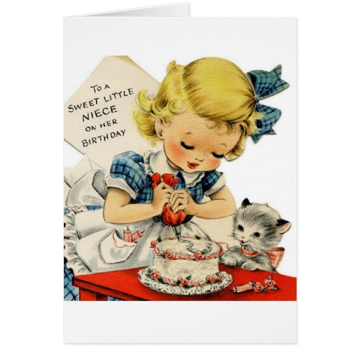 Cartão doce do aniversário da sobrinha do vintage