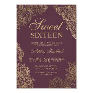 Cartão Doce elegante floral dezesseis do ouro do Bordéus