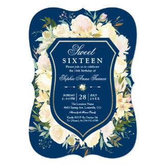 Cartão Doce floral dezesseis dos azuis marinhos da crista