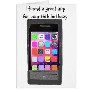 Cartão Doce humor do App do telefone de 16 aniversários