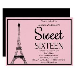 Cartão Doce preto cor-de-rosa parisiense dezesseis da