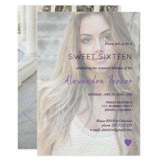 Cartão Doce simples dezesseis da foto do coração violeta