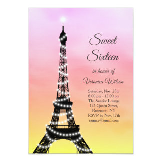 Cartão Doce Sparkling dezesseis da torre Eiffel