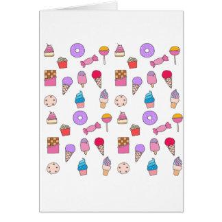 Cartão Doces, doces e bolo