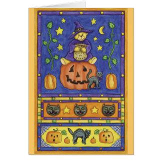 Cartão Doçura ou travessura do urso do Dia das Bruxas