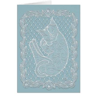 Cartão Doily do laço do gato do sono (azul francês,