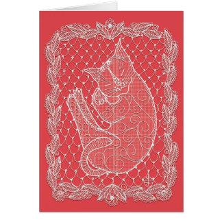 Cartão Doily do laço do gato do sono (cor, vazio da