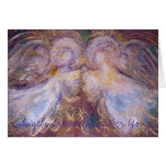 Cartão Dois anjos, anjos estão olhando sobre você