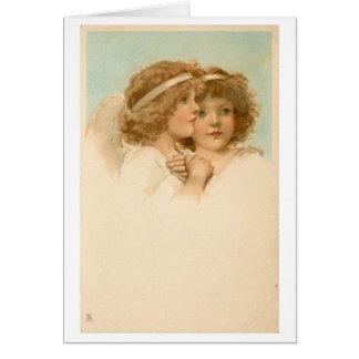 Cartão Dois anjos pequenos,