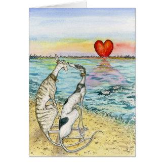 """Cartão """"Dois barcos de papel """""""