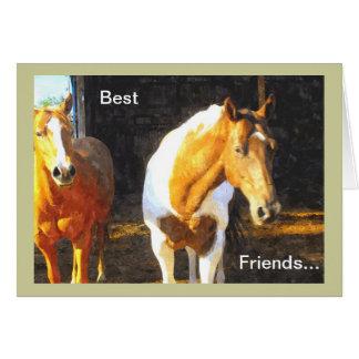Cartão Dois cavalos no prado, simpatia da perda do animal