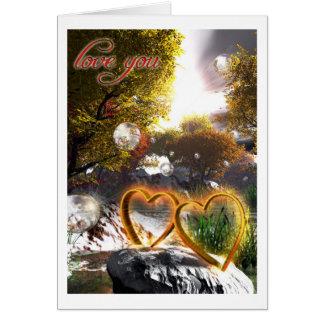 """Cartão Dois corações """"amor que você"""" carda"""
