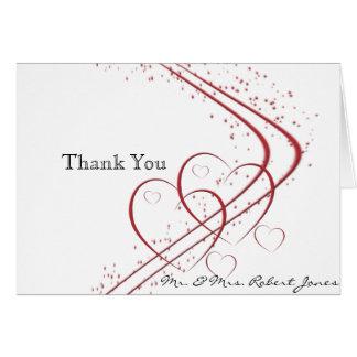 Cartão Dois corações como um obrigado do aniversário você