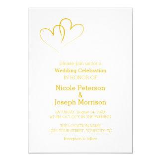 Cartão Dois corações do ouro entrelaçados