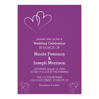 Cartão Dois corações entrelaçaram o roxo