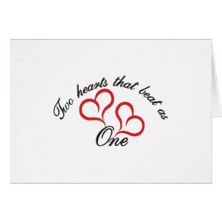 Cartão Dois corações que bateram como um