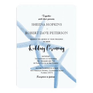 Cartão Dois de nós casamento azul da estrela do mar do
