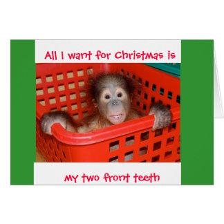 Cartão Dois dentes anteriors para o Natal