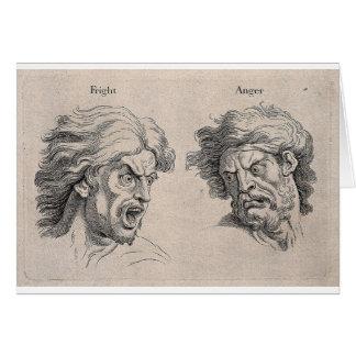 Cartão Dois desenhos das caras irritadas