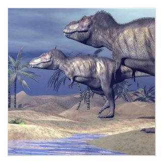 Cartão Dois dinossauros do tiranossauro