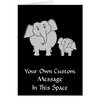 Cartão Dois elefantes bonitos. Desenhos animados no preto