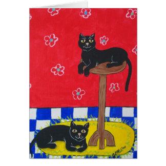 Cartão Dois gatos pretos