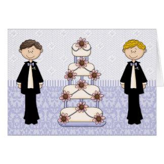 Cartão Dois homens e um bolo de casamento