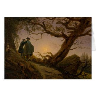 Cartão Dois homens que contemplam a lua
