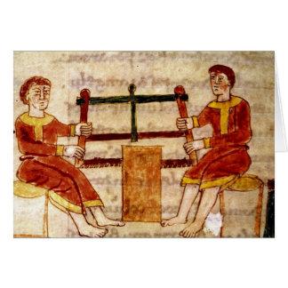 Cartão Dois homens que vêem a madeira, 'de De Universo'